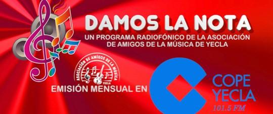 """VUELVE TRAS EL DESCANSO VERANIEGO EL ESPACIO RADIOFÓNICO """"DAMOS LA NOTA"""" EN COPE YECLA 101.5 FM"""