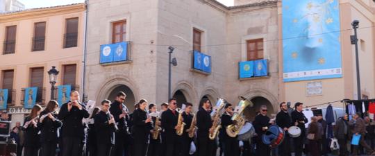 LA BANDA DE LA ASOCIACIÓN DE AMIGOS DE LA MÚSICA DE YECLA EN LAS FIESTAS DE LA VIRGEN 2018