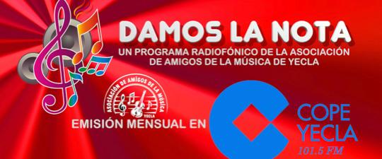 """NUEVA EDICIÓN DE """"DAMOS LA NOTA"""" EN COPE YECLA (101.5 FM)"""